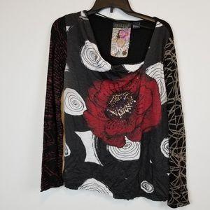 Desigual floral print embellished long sleeve top